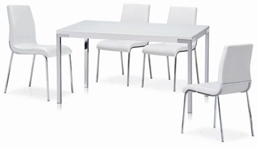 CAFE 4314 set.  A modern dining set with white glass top and chrome legs. Side 4311 White is made from PU materials with chrome legs to match the table set. Perfect for any dining room.