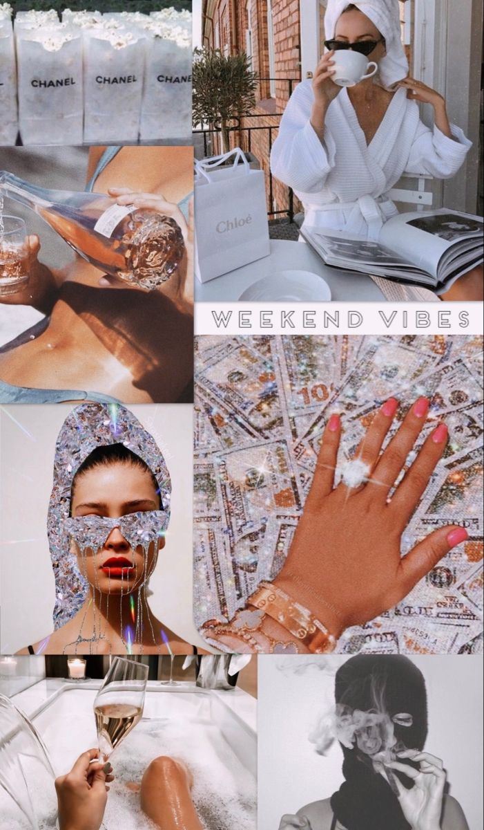 Weekend Vibes Rich Aesthetic Collage Wallpaper Bad Girl Wallpaper Iphone Wallpaper Tumblr Aesthetic Pretty Wallpaper Iphone