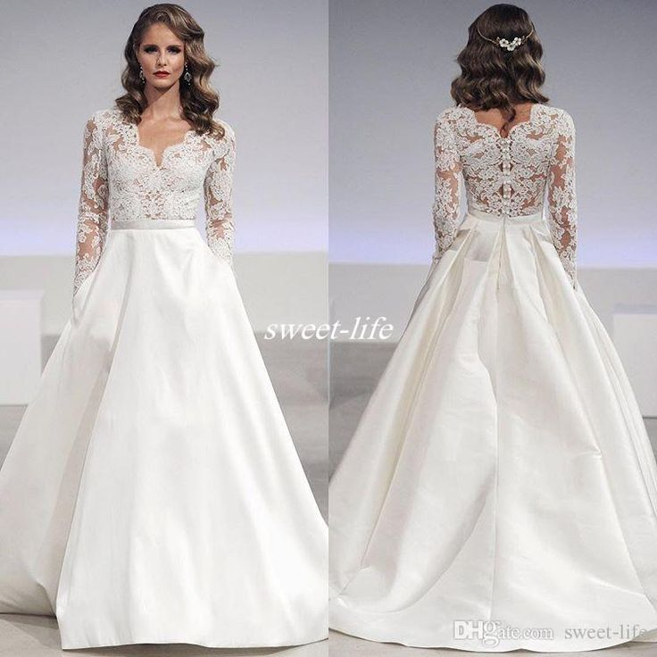Cheap Modest Wedding Dresses With Long Sleeve Pockets Lace Applique A Line Bohemia Country Bridal Dress Plus Size Satin Gowns 2017 As Low