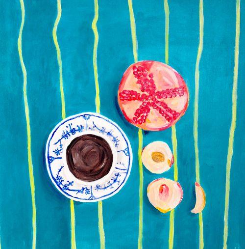 Mallmanns kaffepause. Akryl på kanvas. 50×50cm. – 4 cm. dyb. Katrine Aastrøm Christensen #francismallmann