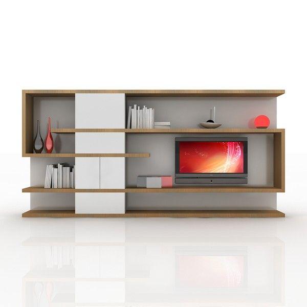 modern tv wall unit 3d obj - TV / Wall Unit Modern Design X_04 Home Media Center... by Studio 3D Plus