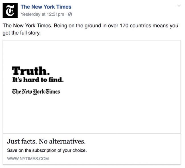 The New York Times Has Co-Opted Alternative Facts and Turned It Into a Marketing Slogan