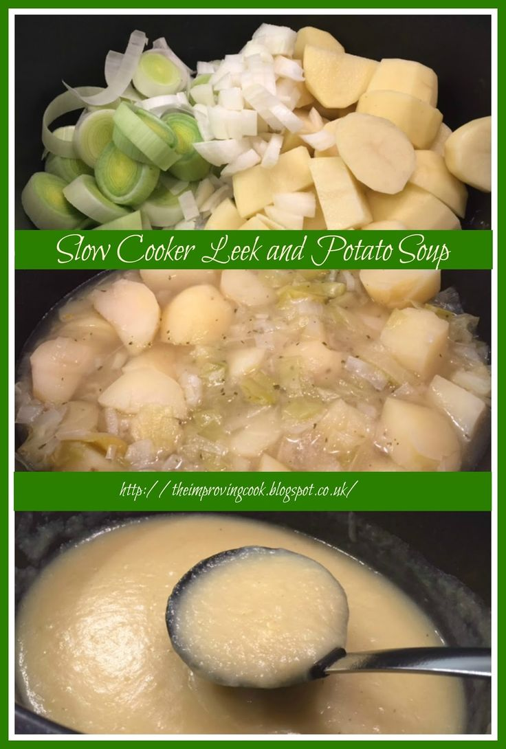 The Improving Cook: Slow Cooker Leek and Potato Soup recipe. A vegetarian slow cooker soup with leeks, onions and potatoes.