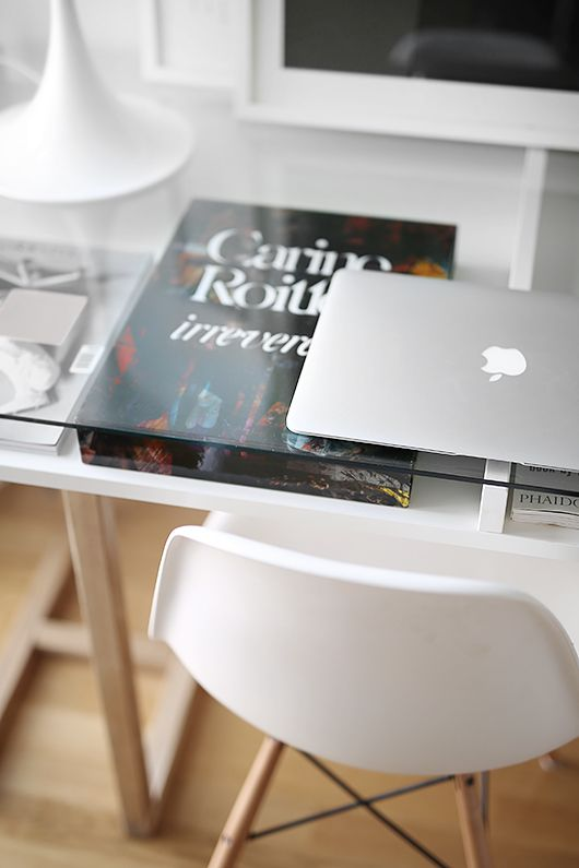 The Perfect Desk . Home Office . Creative Designer Workspace . Studio . Mac and Eames Chair