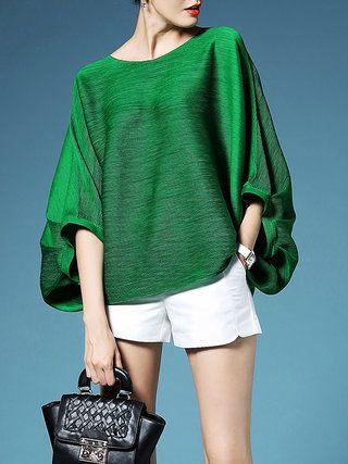LONYUASH Green Pleated Plain Polyester Batwing T-Shirt