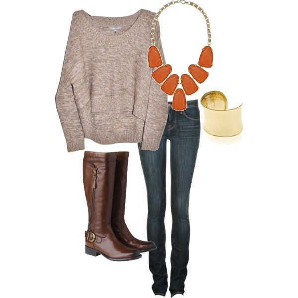 cozy fall..Statement Necklaces, Cozy Fall, Casual Fall, Fall Looks, Slouchy Sweater, Fall Outfit, Brown Boots, Cozy Sweaters, Chunky Necklaces