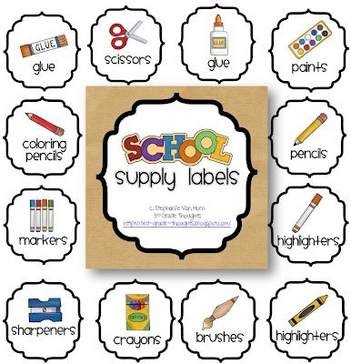 3rd Grade Thoughts: Getting Organized: Classroom Supply Labels and good whole brain