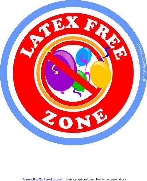 Latex Free Zone with Balloons Allergy Alert Label #latexallergy #allergylabels #allergyalert