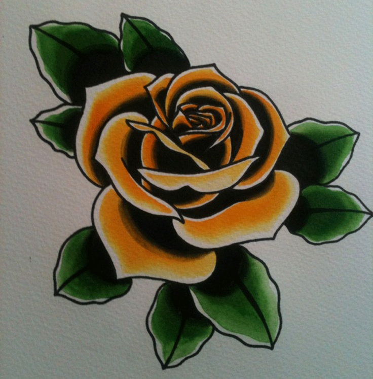 Yellow traditional rose tattoo. | Think'n about ink'n ...