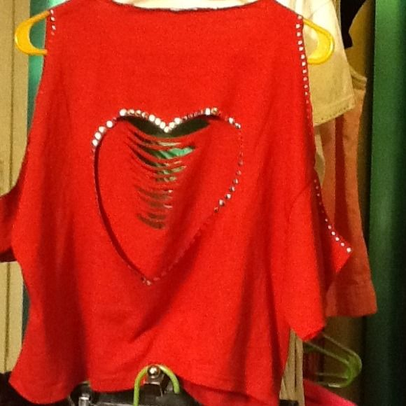 Open Heart Custom Crop Top with Silver Studding The heart is worn in the back Lisa Mo'Nay  Tops Crop Tops