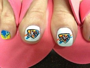 40 best nails thunder images on pinterest thunder nail art oklahoma city thunder nail art okc nba basketball prinsesfo Image collections