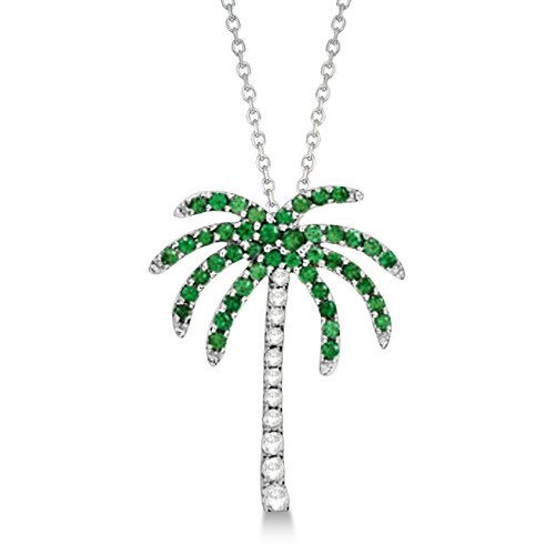 Tsavorite Amp Diamond Palm Tree Necklace 14k White Gold By