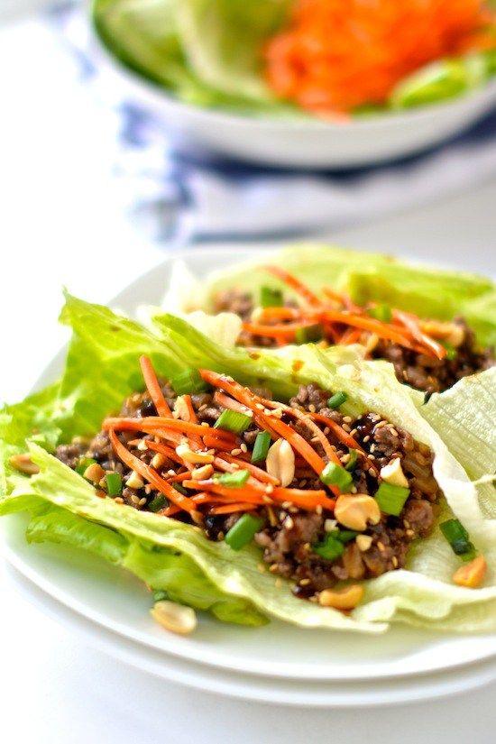 Healthy Asian Lettuce Wraps // Serving size: 1 lettuce wrap (recipe makes 10) Calories: 120