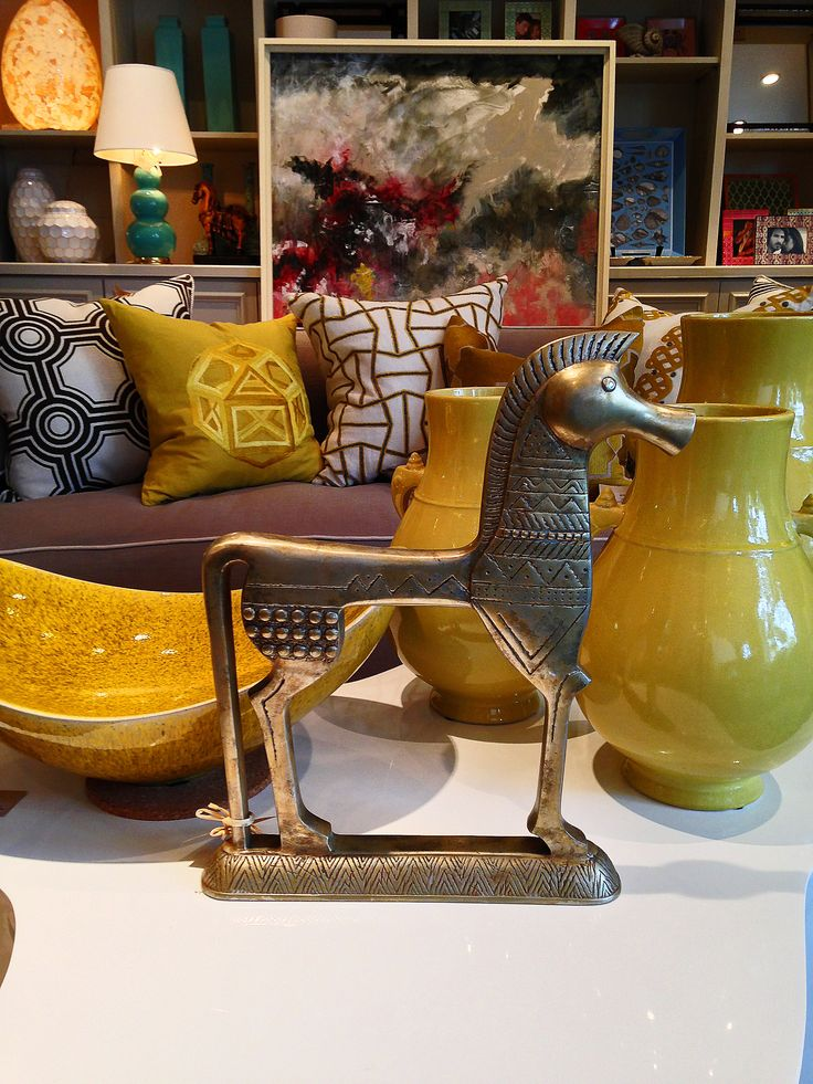 Vintage Egyptian #brass #horse sculpture with bright #decor at #Dallas #Mecox #interiordesign #mecoxgardens #furniture #shopping #home #design #room #designidea #antiques #garden