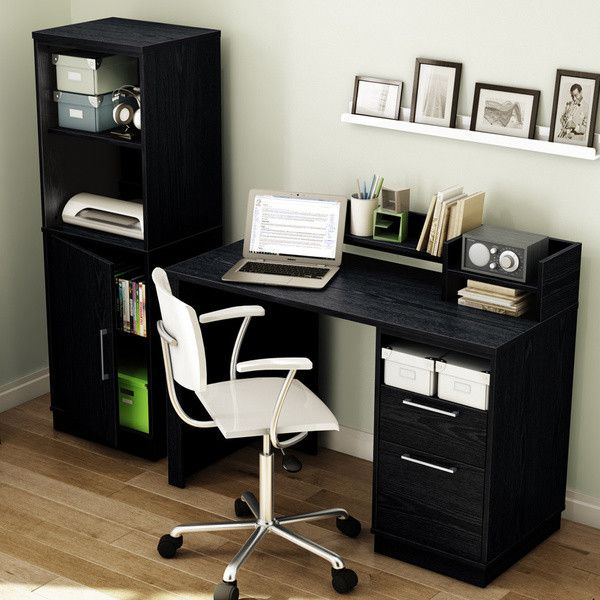 This black desk from the Academic Collection keeps your work spaceneat and organized with ample storage for your office necessities.This computer desk features