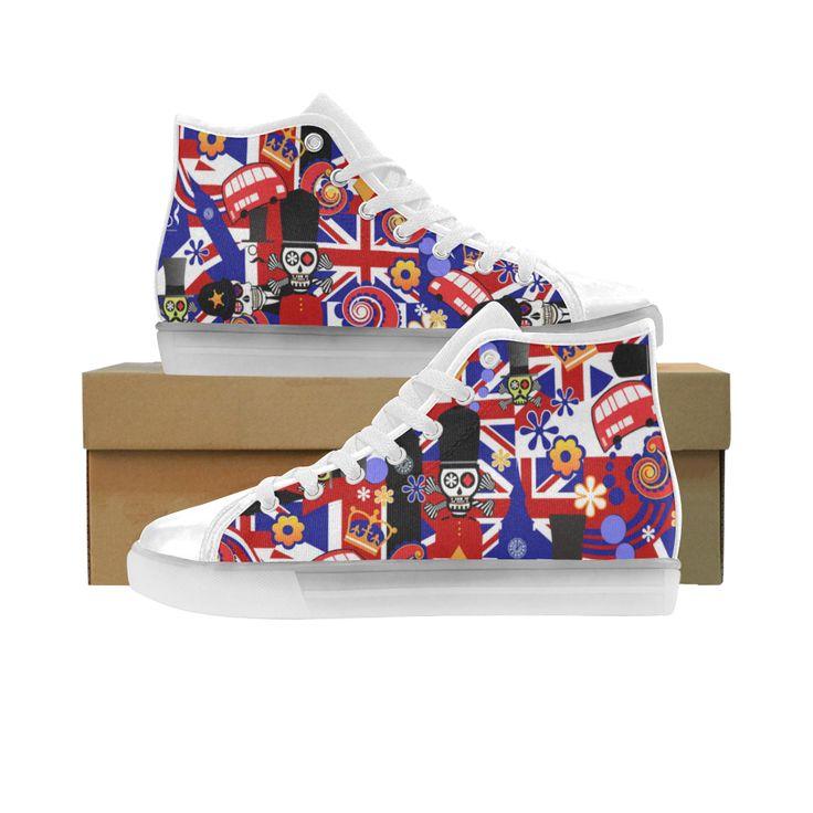 LED Light Up Sneakers London Flag Sugar Skull Custom Light Up Women's Shoes (Model 045).LED Light Up Sneakers London Flag Sugar Skull