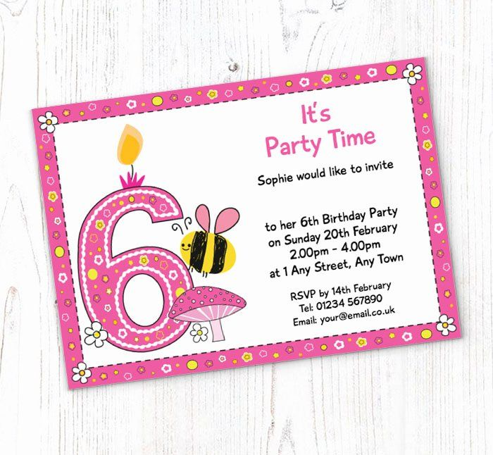 6th Birthday Invitation Wording Fresh Bumble Bee 6th Birth Birthday Invitation Card Template Printable Birthday Invitations Free Printable Birthday Invitations