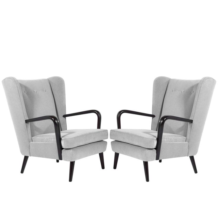 Pair of Italian Wingback Chairs in the Style of Gio Ponti