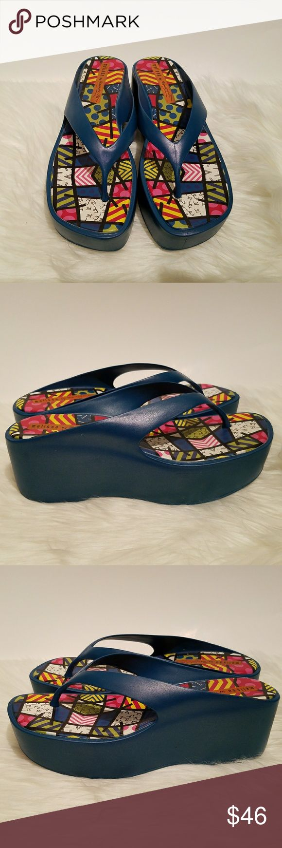 "Melissa by Romero Britto Thong Flip Flop  Sandals This is a pair of Melissa sandals by Miami Neo-Pop Artist Romero Britto.  1 1/2"" platform, 2 1/2"" heel Excellent used condition, minimal wear to soles 29xxbci Melissa Shoes Sandals"