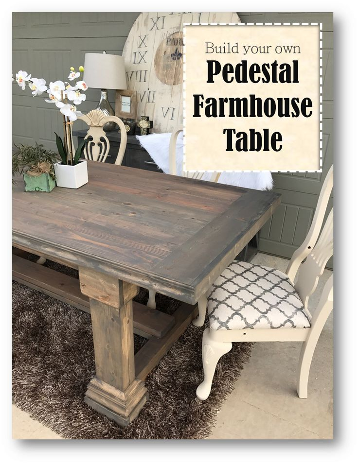 Step by Step How To : Pedestal Farmhouse Table - Modified Shanty - 2 - Chic Plans - Handmade Haven - SmashingDIY