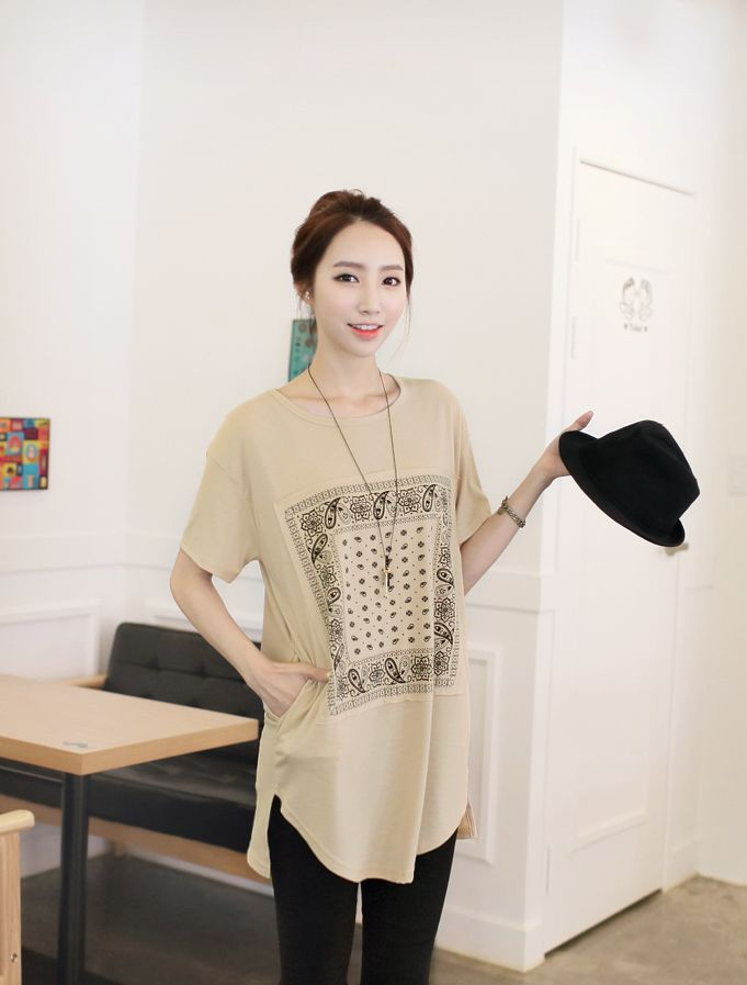 Republic of Korea reigning Women's Clothing Store [CANMART] Long t-shirt printing Posey / Size : FREE / Price : 16.56 USD Good item to wear throughout the four seasons smooth touch feeling Soft! #tops #tshirt #trend #summer #koreafashion #womanfashion #dailylook #missy #OOTD #CANMART