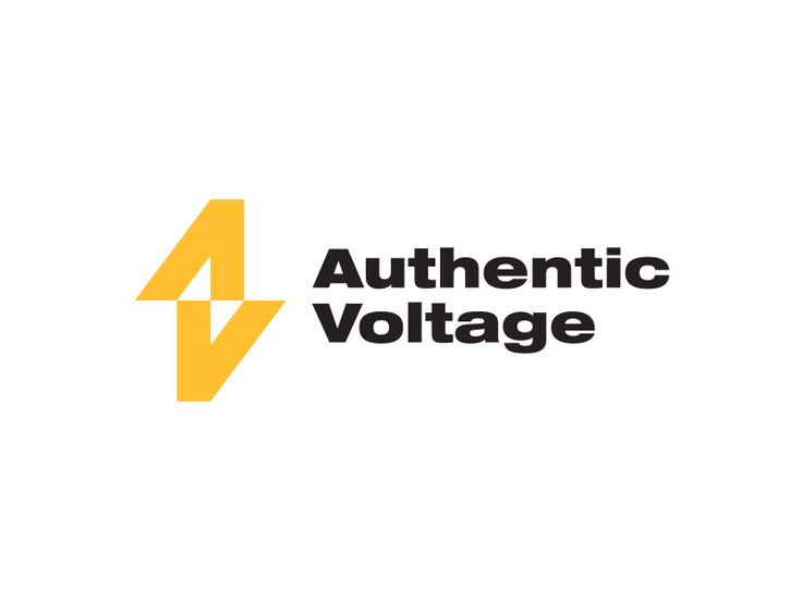 Authentic Voltage Logo Negative Space Logos Power Logo