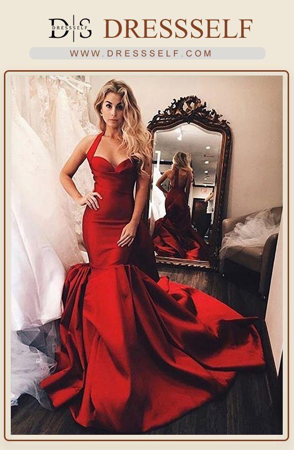 Elegante Träger Red Prom Dresses Lange Meerjungfrau Abendkleider Online-Verkauf