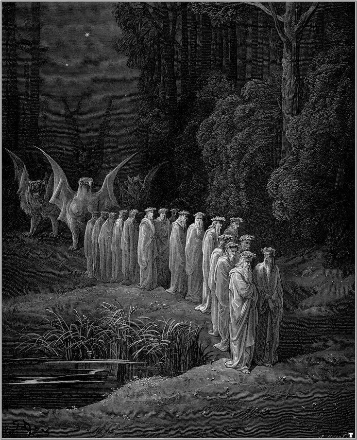 Gustave Doré, Apocalyptic Procession, arte de la obra la divina comedia de Dante Alighieri, arte tradicional por reflejar el estilo de tragedia griega. Representando la belleza de la muerte e igual basado en aspectos religiosos.