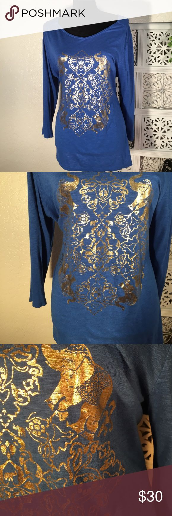 Crown & Ivy Royal Blue & Gold Long Sleeved Top See photos above for information.  Tags Removed.  Never Worn. Non smoking House.  New condition. crown & ivy Tops Tees - Long Sleeve