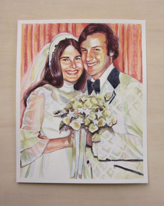 Watercolor Custom Portrait, Anniversary Couple Portrait, Man and Woman Painting, Husband and Wife art, Family Portrait, Free Shipping