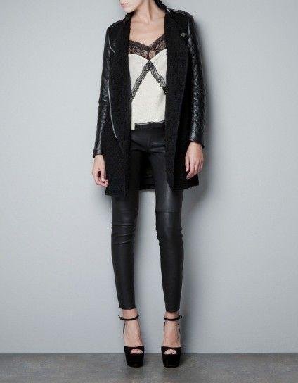 Zara, cappotto maniche pelle - Dalla collezione di Zara cappotti Autunno 2012 cappotto nero con maniche imbottite in pelle.