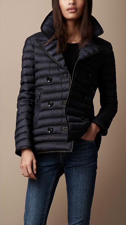 Burberry Brit Leather Trim Quilted Pea Coat