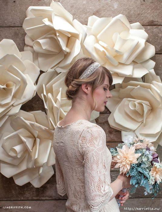 Большие цветы из бумаги для свадебного торжества (4) (535x700, 304Kb)
