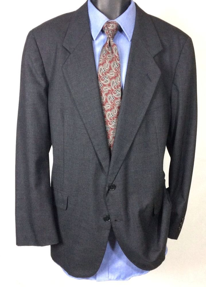 OLEG CASSINI Mens Gray Suit Jacket Size 44R | Textured 2 Button Sport Coat  #CostaRica #TwoButton