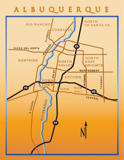 A map of Albuquerque, including Corrales, the Westside, the NE Heights, the