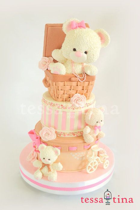 Three bears, a basket and a bicycle cake