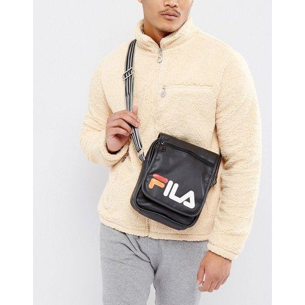 Fila Flight Bag With Logo ($24) via Polyvore featuring men's fashion, men's bags, black, vintage men's fashion and 80s men's fashion
