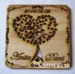 Köszönetajándék fából - almás poháralátét