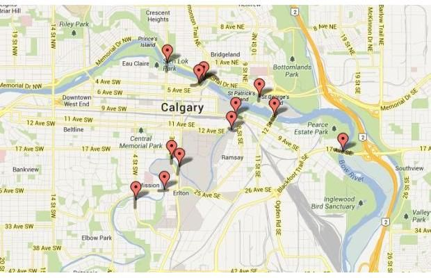 Calgary bridges closed on June 20th, 2013 due to severe flooding