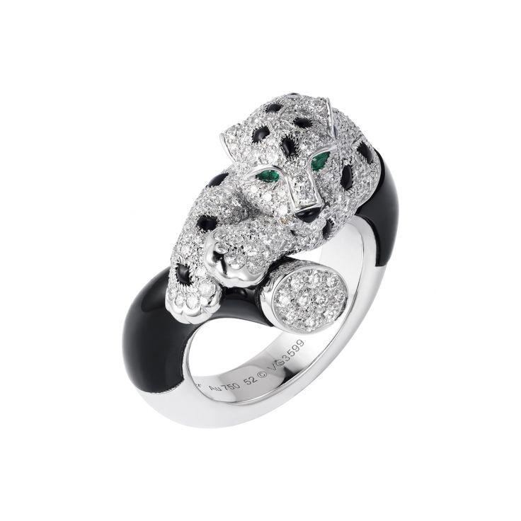 Panthère de Cartier II diamond, onyx, emerald and enamel ring.