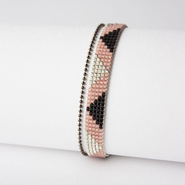 BRACELET TISSÉ PERLES MIYUKI / Noir argent : Bracelet par tadaam-bijoux