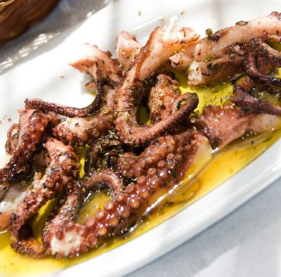 Greek Octopus served chilled in olive oil vingear and garlic