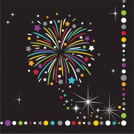 Fireworks Celebration Sparkle 16-Count Creative Converting Paper Beverage Napkins