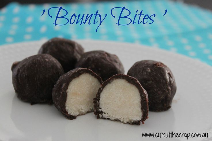 Bounty Bites. Gluten free. Dairy free. Preservative free. Additive free. Soy free. Nut free. Refined Sugar free. Egg free. Cut out the Crap. Recipe. http://www.cutoutthecrap.com.au/bounty-bites/