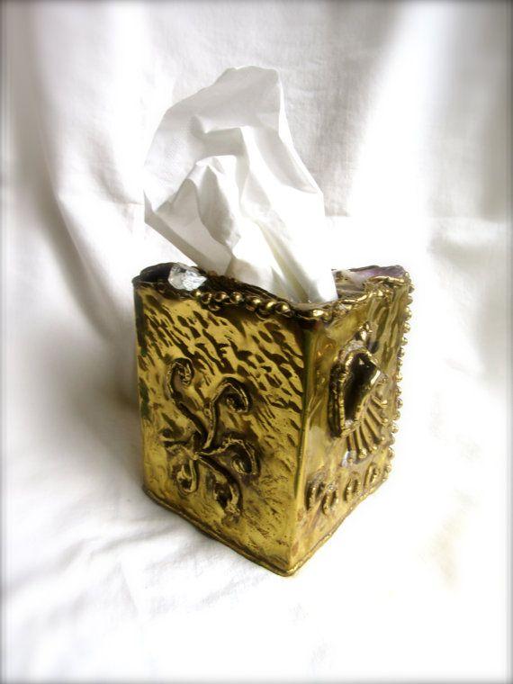 Vintage Tissue Box Brutalist Sculptural Mixed Metal and Amethyst Quartz Tissue Box Handmade Modern Brutalist Style Copper Brass Box Copa