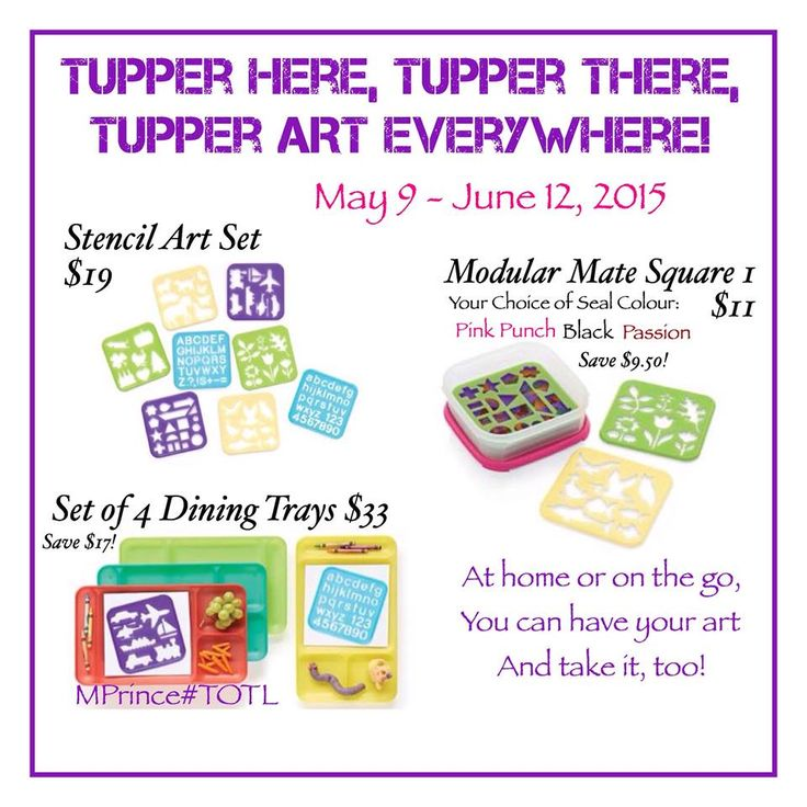 WOW! Who remembers these as a kid? Bring back your childhood memories with Tupperware. Check out these cool, new, Tupperware stencils. You can order them online at www.jamesp.my.tupperware.ca