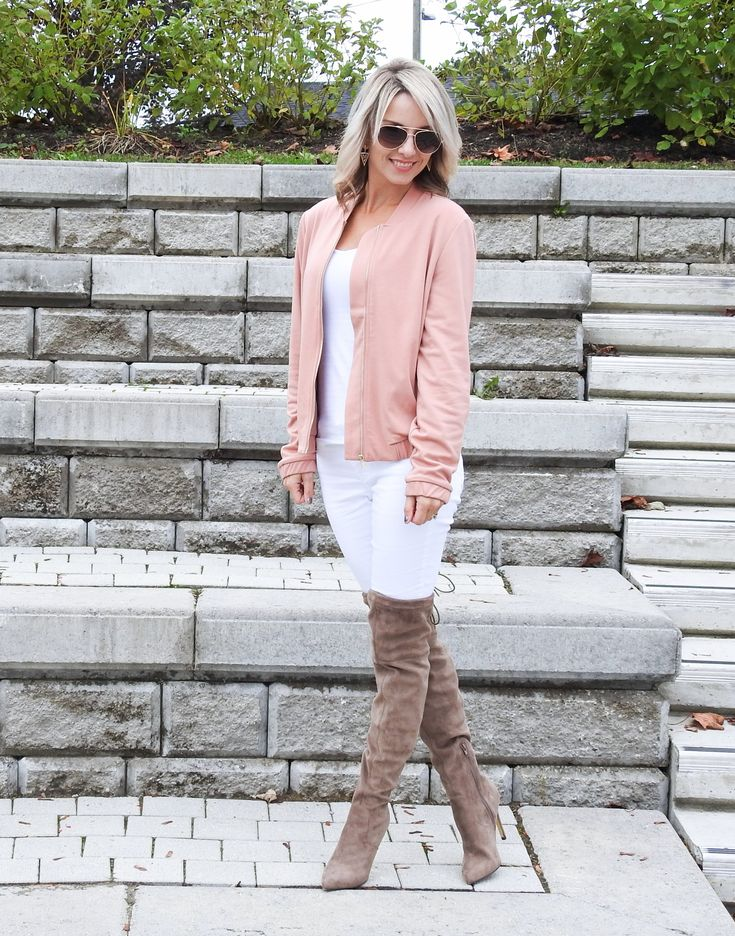 Fall fashion, pink blush bomber jacket, white jeans, taupe over the knee boots, aviators, tiaras and heels blog