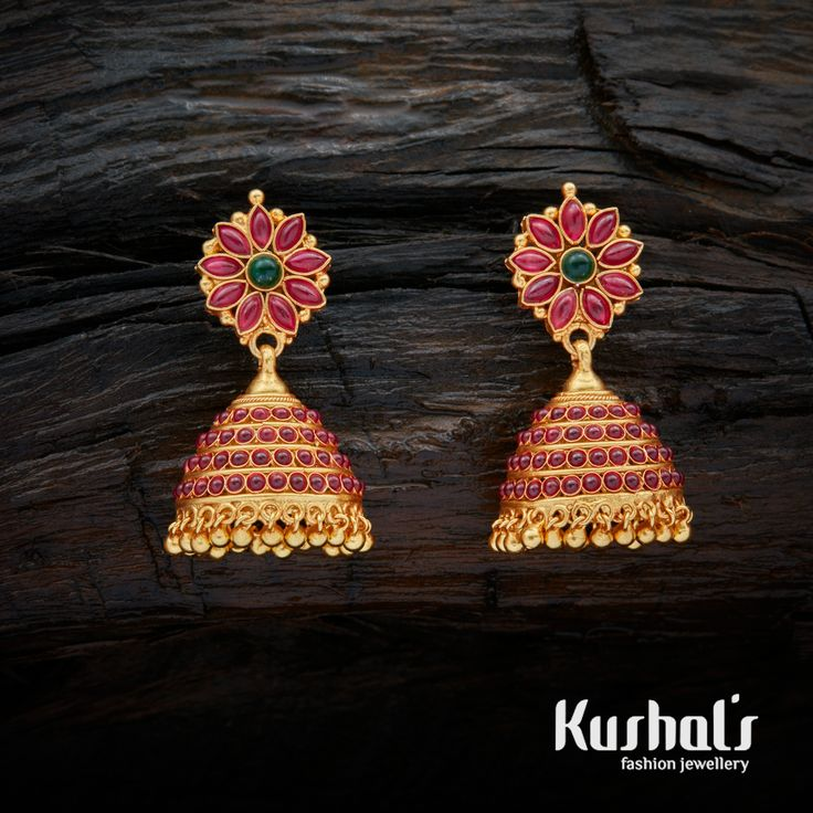 Beautiful contemporary style gold-dipped silver earrings, make a unique style statement with this pair. This exquisite earring is studded with Ruby Green and Spinal stone.Crafted using ancient South Indian antique Silver temple jewellery the entire piece is crafted in pure Silver (92.5)