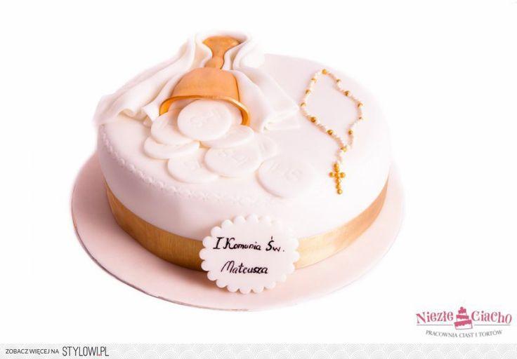I Komunia Święta, tort z okazji I Komunii Św., tort pierwszokomunijny, przyjęcie pierwszokomunijne, kielich, różaniec, hostie, Tarnów