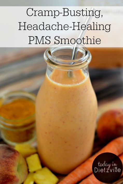 Cramp-Busting, Headache-Healing PMS Smoothie   This is exactly what it means to use food as medicine! With anti-inflammatory and pain-relieving enzymes, hormone balancing ingredients, and more, this PMS smoothie is perfect before and during your period to relieve uncomfortable symptoms and bring back your energy!   TodayInDietzville.com
